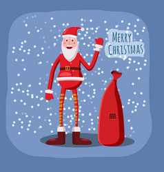 Funny cute santa claus with a bag of gifts waving vector