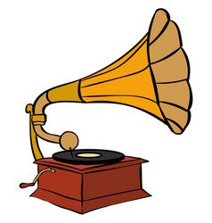Gramophone on white background vector
