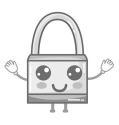 Grayscale kawaii cute happy padlock security vector