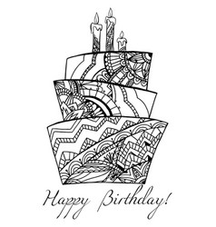 greeting card with a cake with a boho pattern vector image