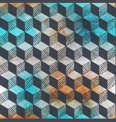 grunge rhombus geometric pattern vector image