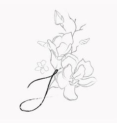 Handwritten line drawing floral logo monogram s vector