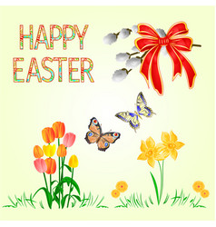happy easter decoration daffodil and tulips vector image
