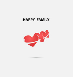 Heart signs and happy family logo design vector