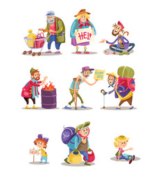 Homeless and beggars people cartoon vector