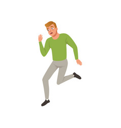 Horrified man running away from something young vector