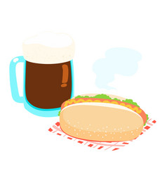 Hot dog and root beer vector