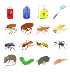 Insect icons set cartoon style vector image