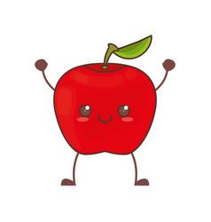 Kawaii apple fruit image vector