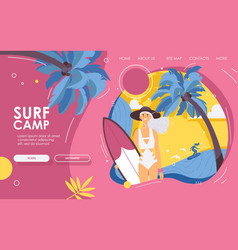 Landing page happy female young surfer with vector