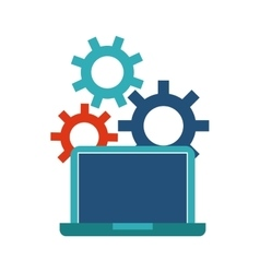 Laptop and gears icon Blog concept vector