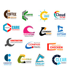 Letter c corporate identity business icons vector