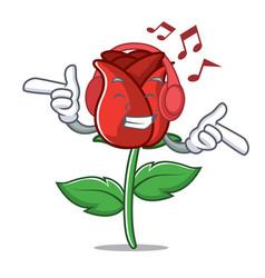 Listening music red rose mascot cartoon vector