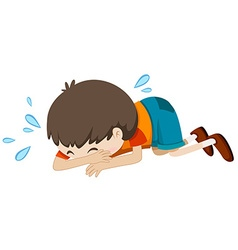 Little boy crying alone vector image