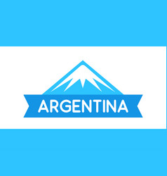 Logo of mountain with ribbon and caption vector