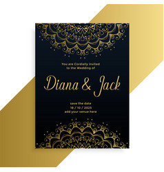 Mandala style decorative wedding card indian vector