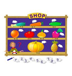 Math education for children help salesgirl vector