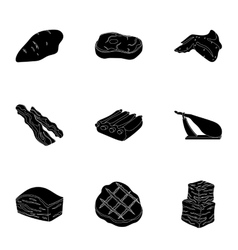 Meats set icons in black style Big collection of vector image