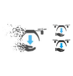 Moving pixel halftone unload drone icon vector