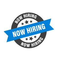 Now hiring sign now hiring blue-black round vector