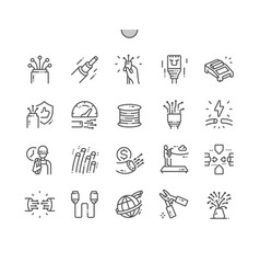 Optical fiber thin line icons vector