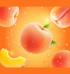 peach falling in juice realistic advertising vector image