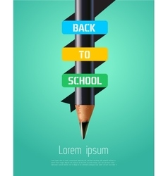 Pencil ribbon banner Back to school vector image