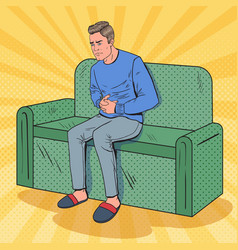 Pop art unhappy man suffering from stomach ache vector