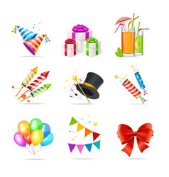 Realistic 3d detailed party icon set vector
