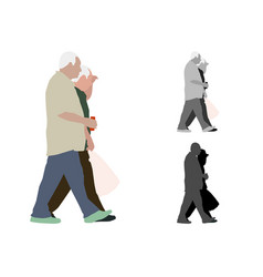 realistic colored of two walking old men vector image