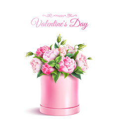 Rose flower box valentines day realistic vector