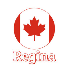 Round button icon national flag canada with vector