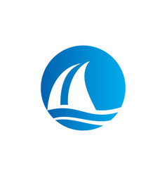 Sail boat water beach travel logo vector