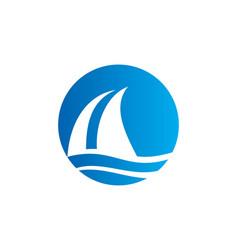 sail boat water beach travel logo vector image
