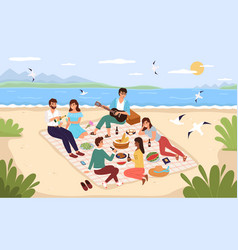 sea picnic young happy people drink and vector image