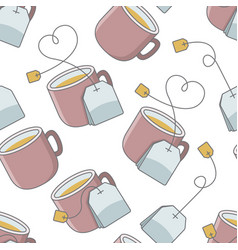 Seamless pattern with cup of tea and bag vector