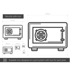 Security safe line icon vector
