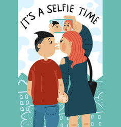 selfie time composition vector image
