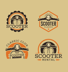 set of classic scooter emblems vector image