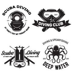 Set of scuba diving club and diving school badges vector