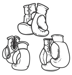 set of the boxing gloves icons isolated on white vector image