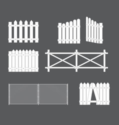 silhouettes various types fence gate of vector image