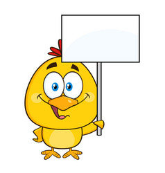smiling yellow chick holding a blank sign vector image