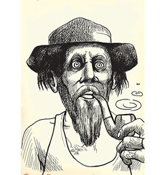 Smoker Man with a Pipe vector