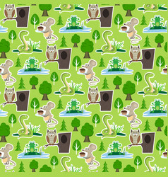 Snake character wildlife nature viper mouse owl vector