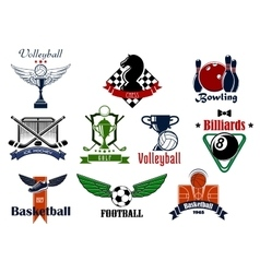 Sports club or team emblems and icons vector image