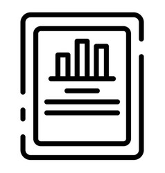 Tablet finance graph icon outline style vector