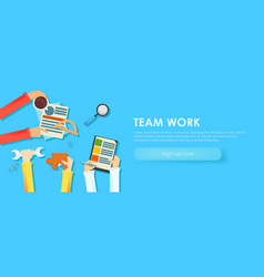 team work banner vector image