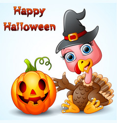 Turkey cartoon with witch hat and pumpkin vector