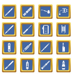 Vaping icons set blue vector